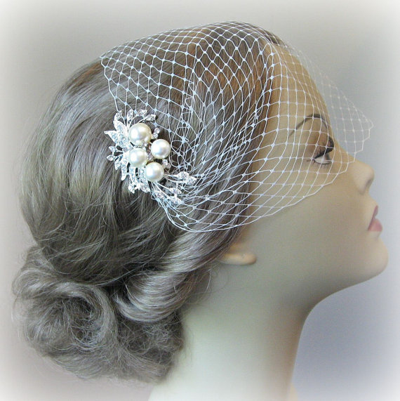 Mariage - Bridal Veil and Bridal Comb, Bandeau Birdcage Veil, Bird Cage Veil With Ivory Pearl and Rhinestone Fascinator Comb - JOSEPHINE