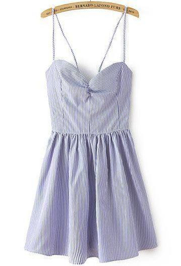 Hochzeit - Blue White Striped Spaghetti Strap Backless Pleated Dress