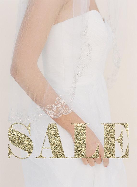 Mariage - Silver Beaded Veil, Embroidered Wedding Veil, Single Layer Bridal Veil, Swarovski Crystals, Tulle Veil, Waist Length Veil, Bridal Veil #1525