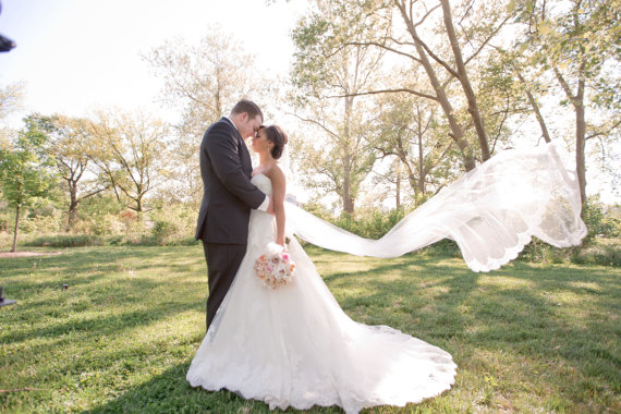 Mariage - Wedding Veil - Cathedral Length with French Alencon Lace At Bottom Edge