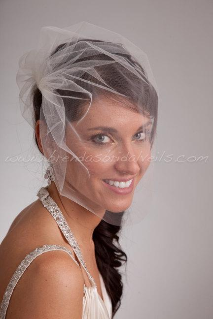 Mariage - Tulle Side Blusher Birdcage Veil- White, White Sparkle, Diamond White, Ivory, Ivory Sparkle, Champagne, Black, More Colors