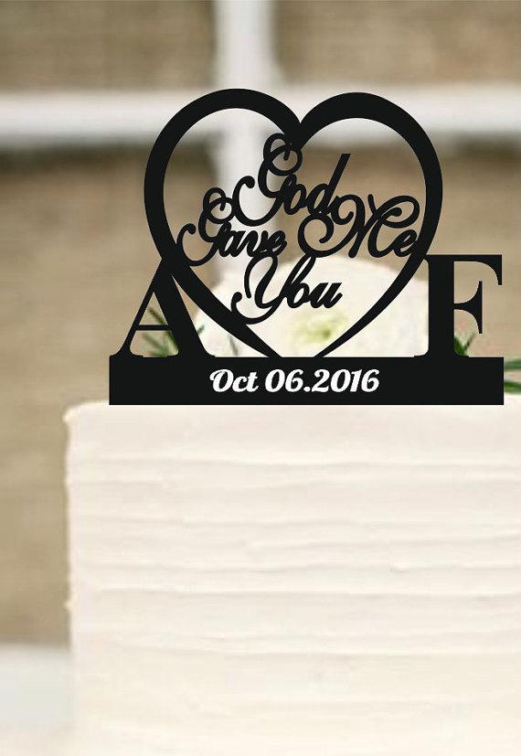 Boda - Wedding Cake Topper, God Gave Me You CakeTopper, Wedding decoration, Cake decor
