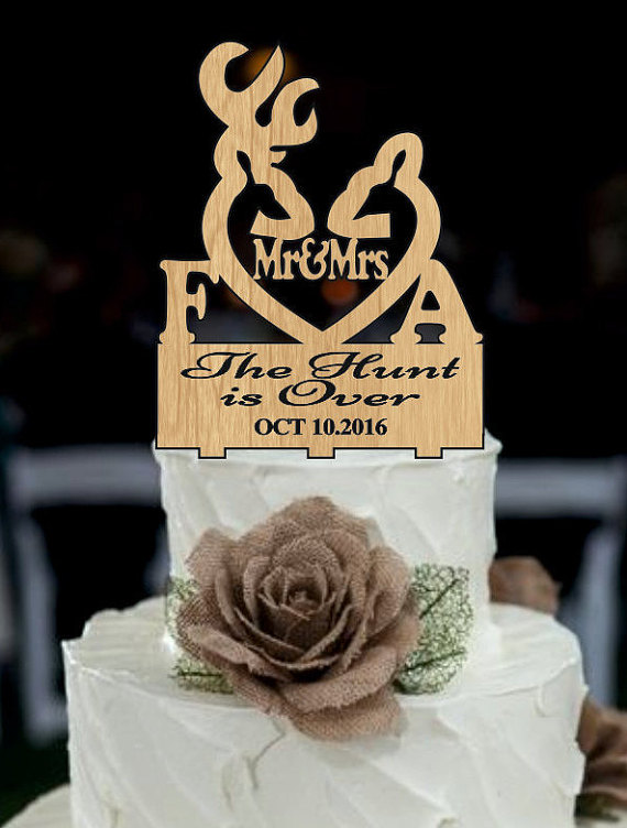 Deer Wedding Cake Topper Country The Hunt Is Over Rustic Shabby Chic Redneck Cowboy Outdoor Western
