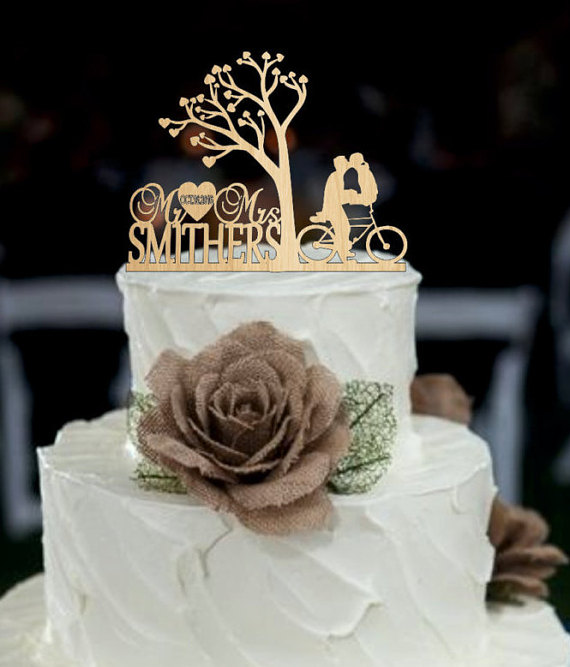 Hochzeit - Wedding Cake topper, Custom Cake Topper, Monogram cake topper, Personalized cake topper, Mr and Mrs cake topper, wedding cake topper rustic