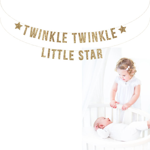 Mariage - TWINKLE TWINKLE Little Star Banner. Photo Prop. Nursery Decor. Baby Shower. Photo Booth, Photobooth, Photo Prop