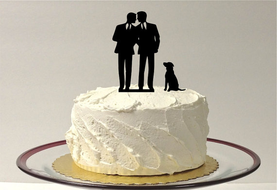 Hochzeit - Gay Wedding Cake Topper + DOG Same Sex Cake Topper Gay Cake Topper Gay silhouette Homosexual Wedding Cake Topper For Men Gift