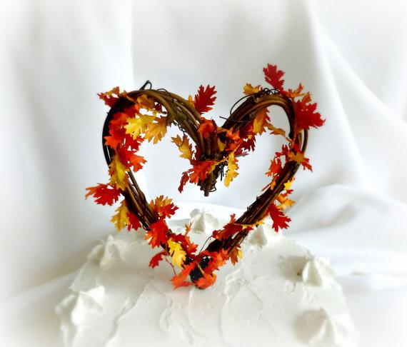 Hochzeit - Fall Cake Topper, Rustic Autumn Wedding & Shower Decor