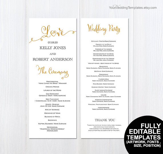 Hochzeit - DIY printable wedding program