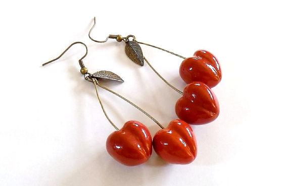 Hochzeit - Cherry Earrings Red, cherry jewelry, bright jewelry, handmade, red jewelry, pin-up, cherries