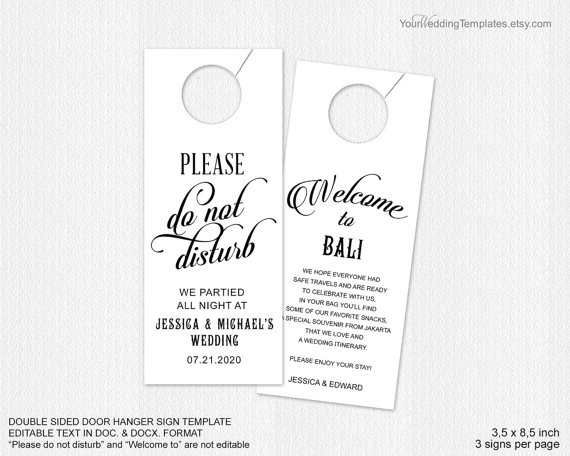 Wedding Door Hanger Template