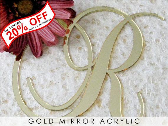 Свадьба - Gold Mirror Monogram Cake Toppers for Wedding