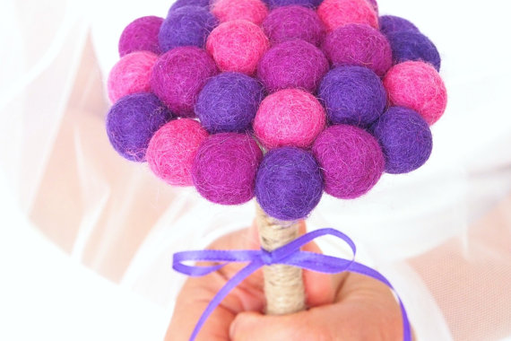 Hochzeit - Bridal Wedding Bouquet, Felted Wool Flowers, Jewel Tone, Bridal Flower Girl, Bridesmaid Bouquet