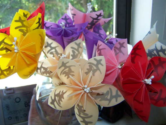Wedding - Wedding Bouquet Asian Theme Origami Kusudama Flowers With Kanji Symbol for Happiness 5 Included
