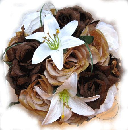 Hochzeit - Reserved listing Wedding Bouquet Bridal package Silk flower CREAM Burnt ORANGE COPPER 19 pcs centerpiece RosesandDreams