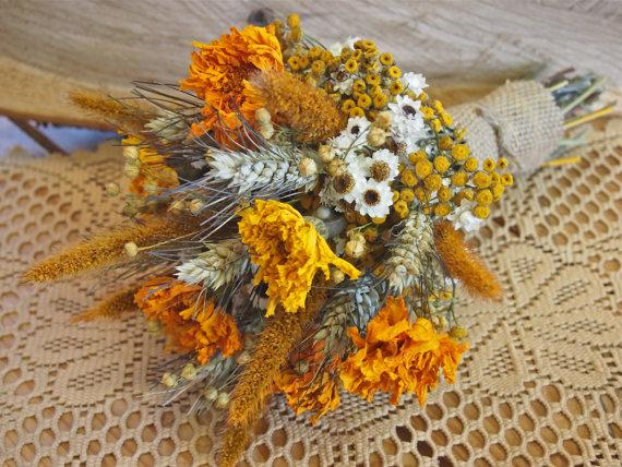 Hochzeit - Boho GOLDEN SUMMER Bridesmaid Bouquet - Dried Flowers are Perfect for Rustic Weddings