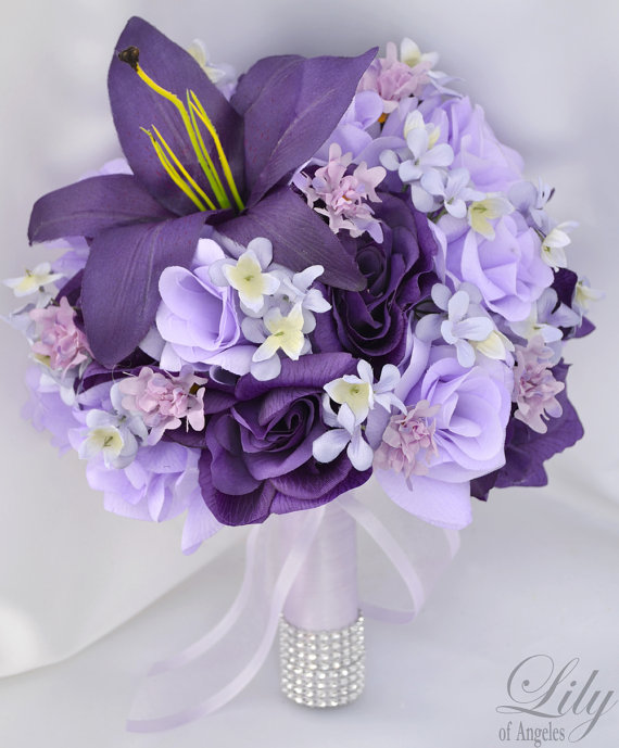 "Hochzeit - 17pcs Wedding Bridal Bouquet Silk Flower Decoration Package PURPLE LAVENDER ""Lily of Angeles"""