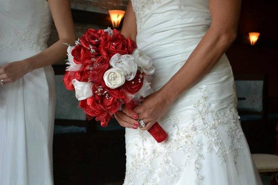 Mariage - Brooch Bouquet,Bridal Bouquet,Fabric Bouquet, Vintage Bouquet,Ready to ship, alternative bouquet, wedding flowers, Christmas wedding