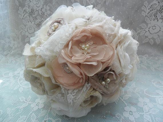 Mariage - Fabric Bridal Bouquet, Vintage Bouquet, Fabric Wedding Flowers, Champagne/Blush/Ivory Bouquet, Shabby Chic/Rustic Wedding, Brooch Bouquet
