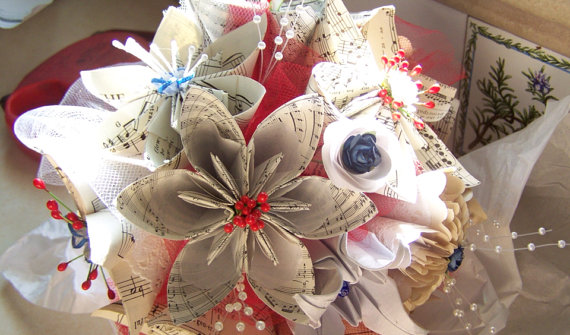 Hochzeit - Wedding Bouquet With Military Theme Includes 8 Sheet Music Origami Flowers