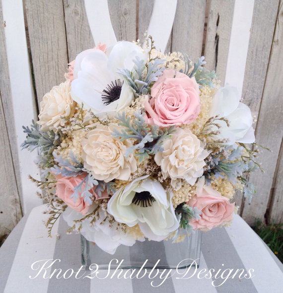 Mariage - Dried flower bouquet - dried bridal bouquet - dusty miller - preserved blush roses - babys breath - faux bouquet - amenomie bouquet -