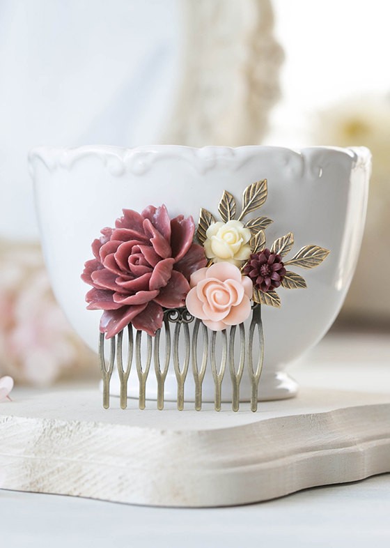 Свадьба - Maroon Burgundy Marsala Blush Pink Ivory Wedding Bridal Hair Comb Antique Gold Leaf Branch Hair Comb Bridesmaid Gift Country Chic Vintage