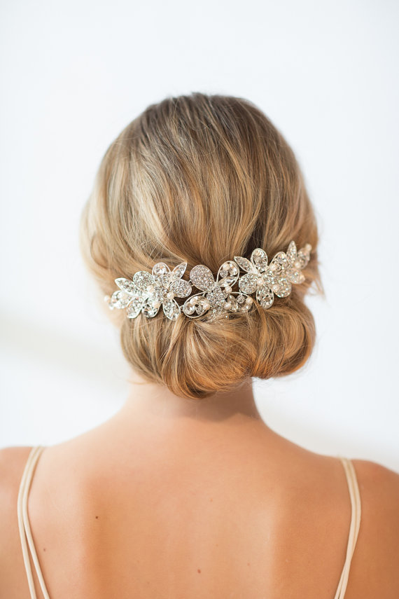 Свадьба - Bridal Head Piece, Wedding Hair Swag, Bridal Crystal Head Piece