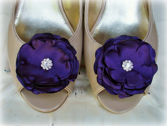 Mariage - Flower Set Plum Satin Rhinestone - Hairpins or Shoe Clips - Bridal Bridesmaids - Wedding Accessories - Pick your colors