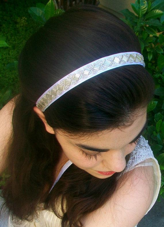 Свадьба - SALE Beaded Bridal Headband, Beaded Headband, White Wedding Headband, Rhinestone Bridal Headband- Crystal Hairband, Wedding Hair Accessories