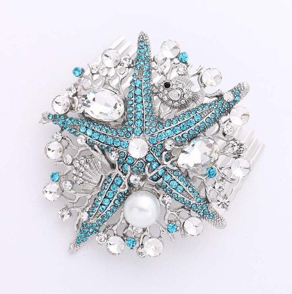 Свадьба - Crystal Pearl Starfish Hair Comb Blue Beach Wedding Bridal Hairpiece Rhinestone Blue Starfish Combs Headpiece Nautical Jewelry Accessory
