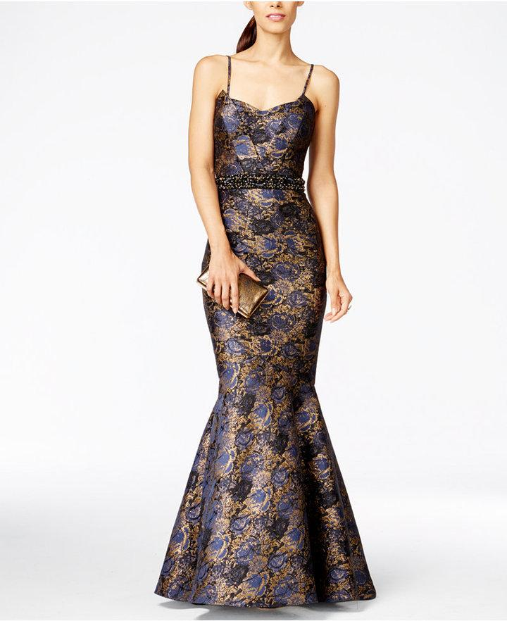 JS Collection Convertible Strapless Floral Jacquard Evening Gown ...