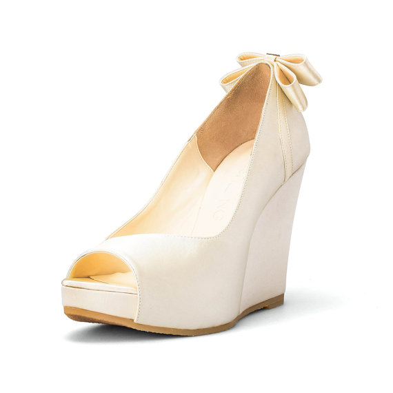 Custom Made Wedges, Ivory White Wedding Wedges, Platform ...