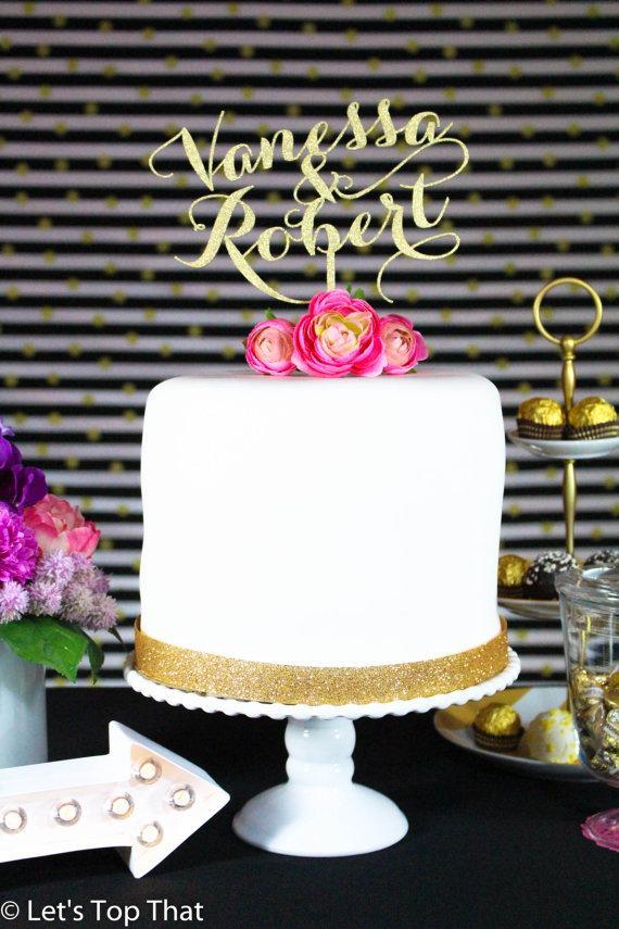 Mariage - Personalized Custom Mr & Mrs Wedding Cake Topper using Last Name