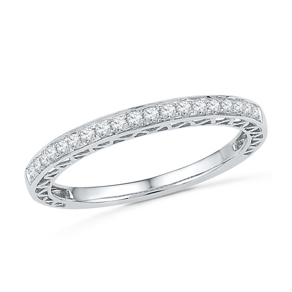 Свадьба - Ladies Diamond Wedding Band Made With White Gold or Sterling Silver