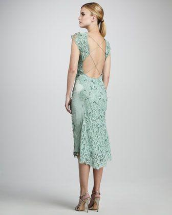 Wedding - Embroidered Lace Cocktail Dress