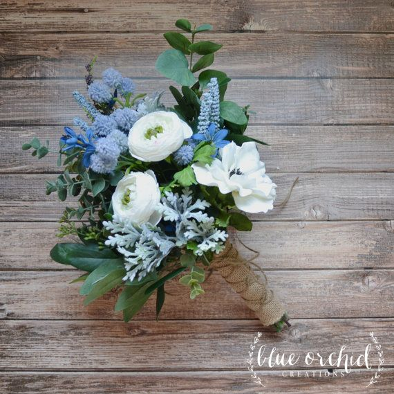 Wedding - White And Light Blue Boho Bouquet With Eucalyptus And Wildflowers