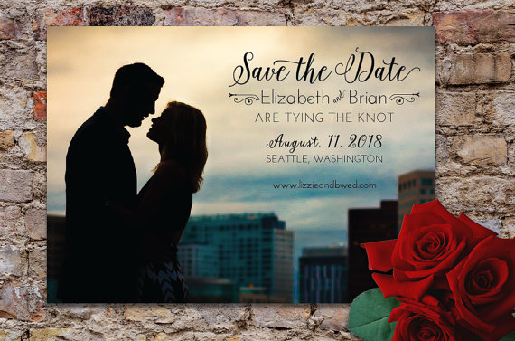Wedding - Sweet & Romantic Save the Date Photo Card with Printed Envelopes