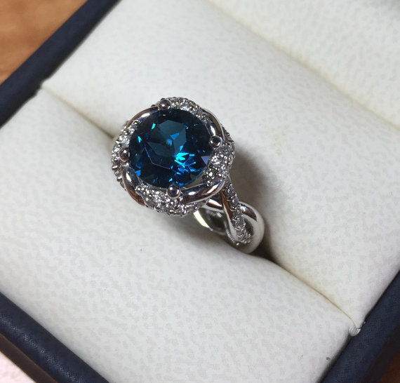 Hochzeit - Wedding and Engagement ring, London Blue Topaz and Diamond halo, NEW Venetian Collection by Bridal rings