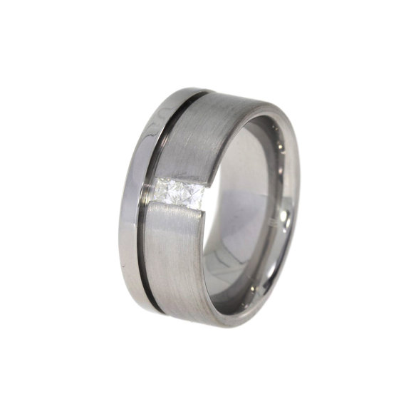 Mariage - Titanium Tension Set Ring that is half Polished and half Brushed set with Two Square Moissanite Stones