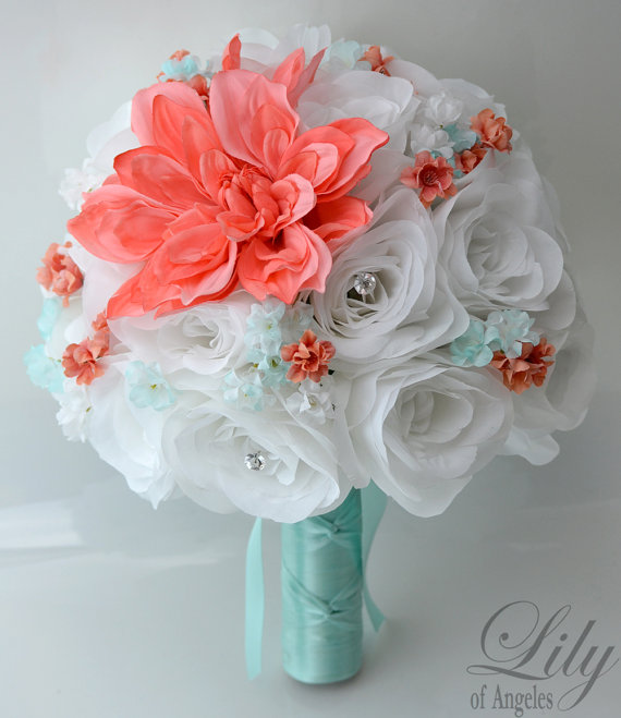 """Mariage - 17 Piece Package Wedding Bridal Bride Maid Honor Bridesmaid Bouquet Boutonniere Corsage Silk Flower CORAL Robin's Egg BLUE """"Lily of Angeles"""""""