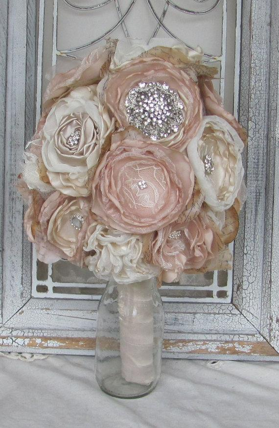 Mariage - Bridal Brooch Bouquet  Vintage Fabric Bouquet Champagne and Ivory