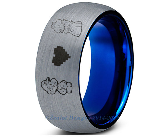 Wedding - Super Mario Blue Tungsten Wedding Band Ring Mens Womens Brushed Dome Cut Luigi Bowser Peach Anniversary Engagement ALL Sizes Available
