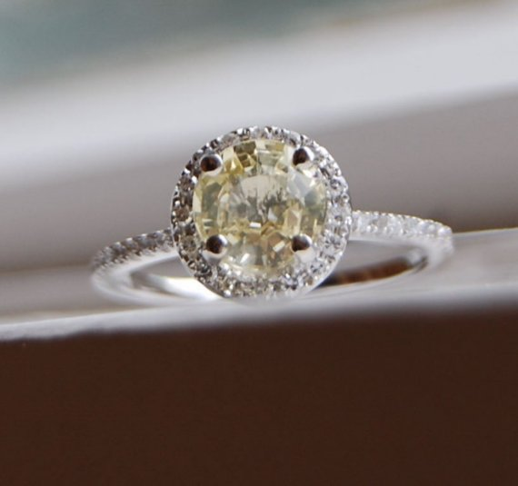 Hochzeit - Yellow sapphire ring 1.36ct unheated sapphire halo diamond ring 14k white gold engagement ring