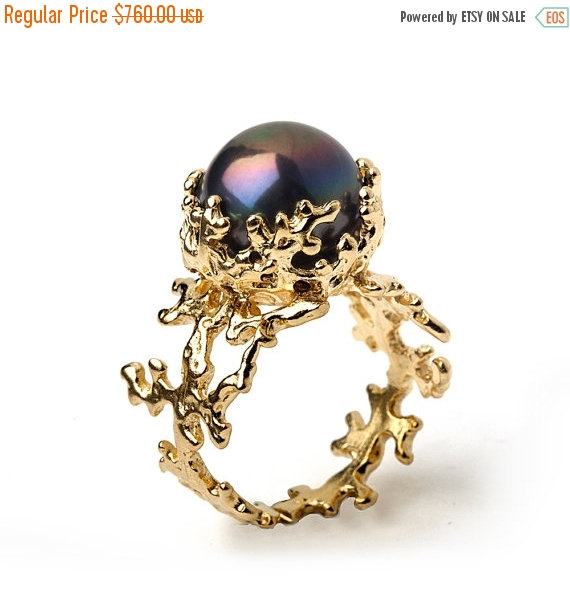 Wedding - 20% off SALE - CORAL Black Pearl Ring, Black Pearl Engagement Ring,  14k Yellow Gold Engagement Ring, Gold Pearl Ring, Gold Ring