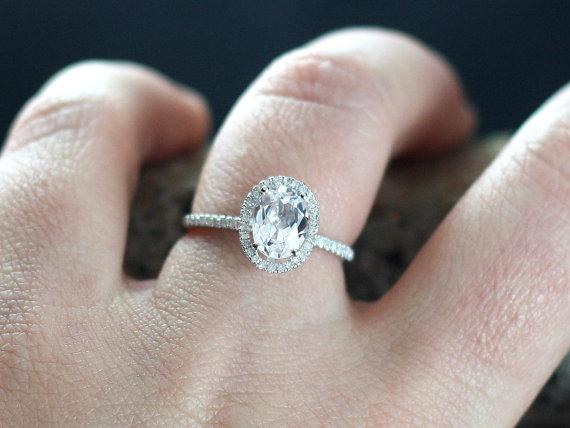 Wedding - Goshenite Engagement Ring Ovale Medio White Emerald Beryl & Diamonds Oval Halo Custom Size White-Yellow-Rose Gold-10k-14k-18k-Platinum