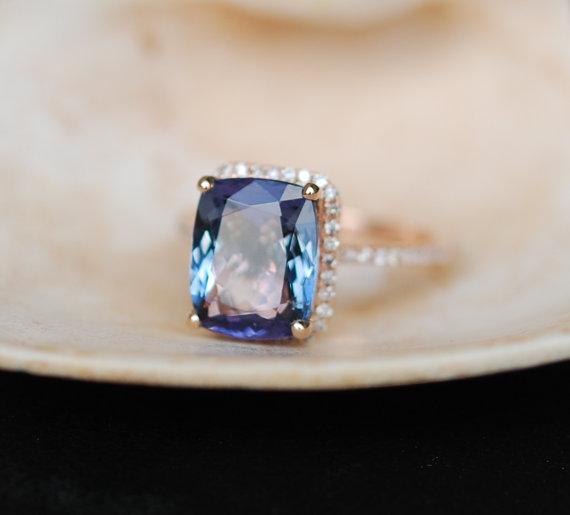Wedding - Tanzanite Ring. Rose Gold Engagement Ring Lavender Mint Tanzanite emerald cut halo engagement ring 14k rose gold.