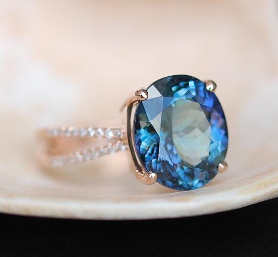 Wedding - Tanzanite Ring. Rose Gold Engagement Ring. GIA certified Teal Tanzanite oval cut engagement ring 14k rose gold.