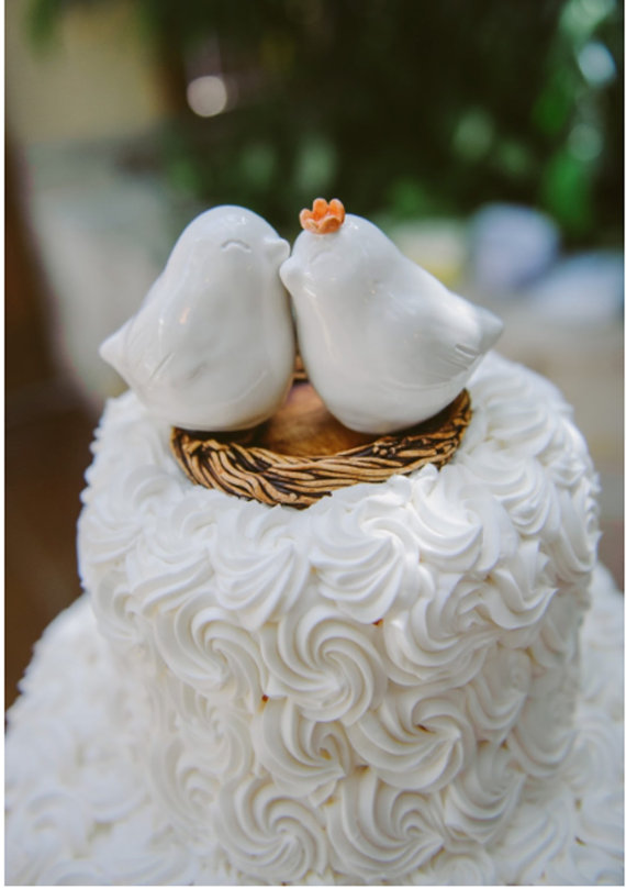 Mariage - White Cuddling Love Bird Cake Topper