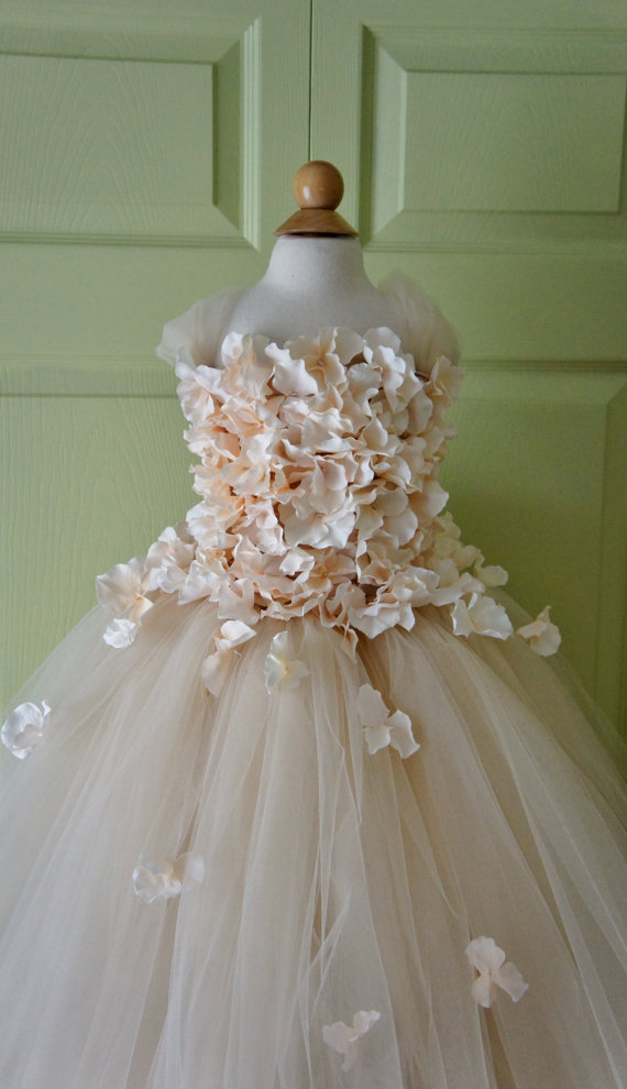 Wedding - Flower girl dress Champagne Dress Champagne tutu dress, flower top, hydrangea top, toddler tutu dress Cascading flowers