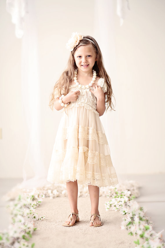 Champagne Lace Flower Girl Dress -Rustic Flower Girl Dress ...