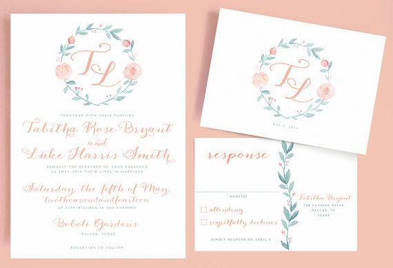 Romantic Wedding Invitation Wording: Watercolor Wreath Wedding Invitation With Romantic